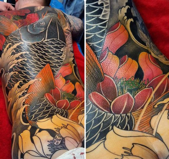 Full Sleeve Koi Fish And Lotus Tattoo Chronic Ink Sleeve Tattoos Tattoos Japanese Sleeve Tattoos