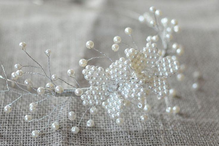 Ivory headband bridal head piece hair vine pearl headpiece bridal wreath romantic bride hairvine bridal hair jewelry pearl wedding tiara by MyGlassLampwork on Etsy