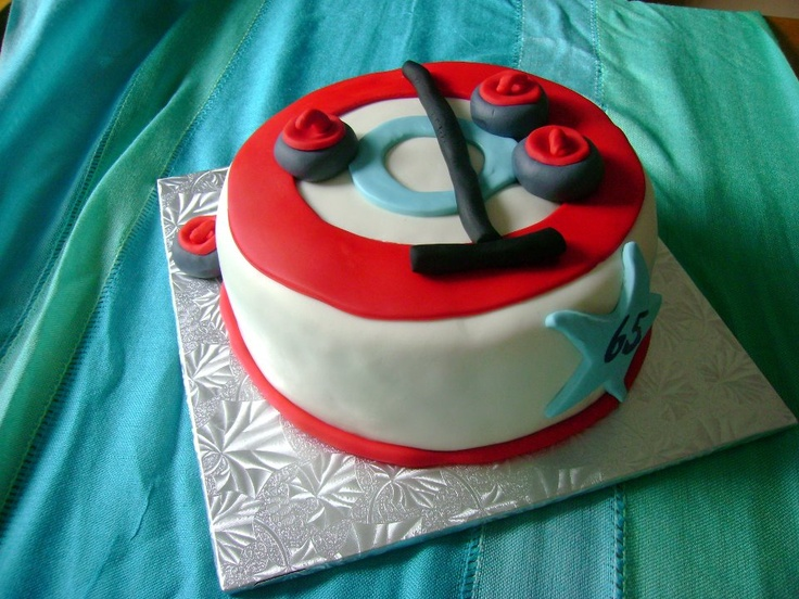 """Happy 65th Birthday!"" Curling House Round Circular Cake With Mini-Fondant Moulded Stones & Brushes circa October 2011"