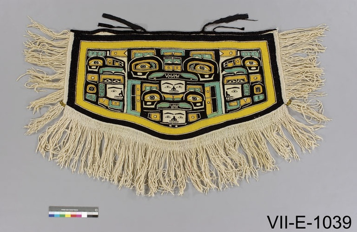 """Mary Ebbetts blanket that went to Chief Billy Assu when he betrothed his son to 11 month old Bessie Hunt. This was not a true marriage, but what we call """"x̱wisa"""". CMC VII-E-1039"""