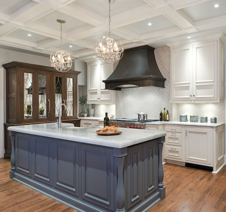 Best Gray Herringbone Tiles Transitional Kitchen Benjamin 640 x 480