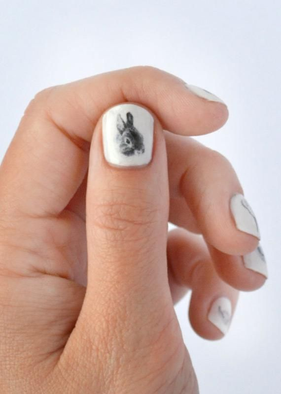 Add some cuteness to your manicure with these illustrated bunny transfers by Hello Harriet. #etsyfind #nailart