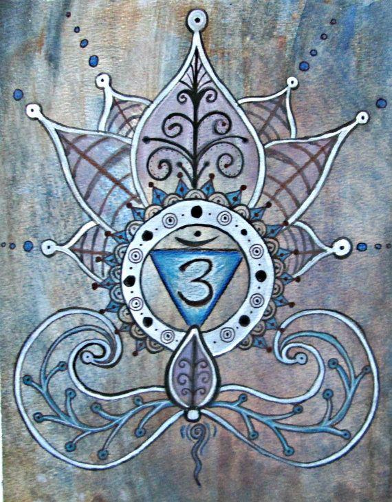 Third Eye Chakra Print  Yoga Art  Lotus Painting  by EarthChildArt
