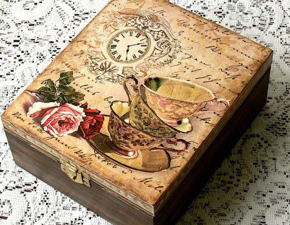Decoupage tea box jewelry box decoupage box by CarmenHandCrafts