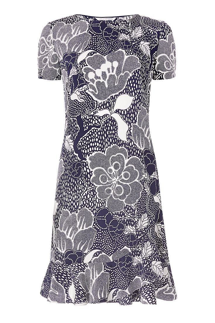 DVF Deon Flounced Shift Dress in flower power midnight