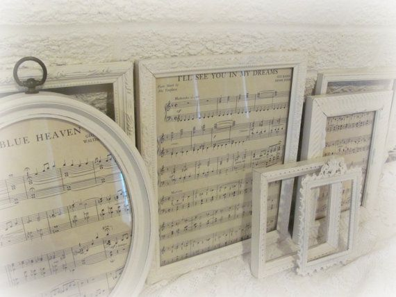 PICTURE FRAMES Shabby Chic Cream Picture Frame Set - would be great to frame old hymns