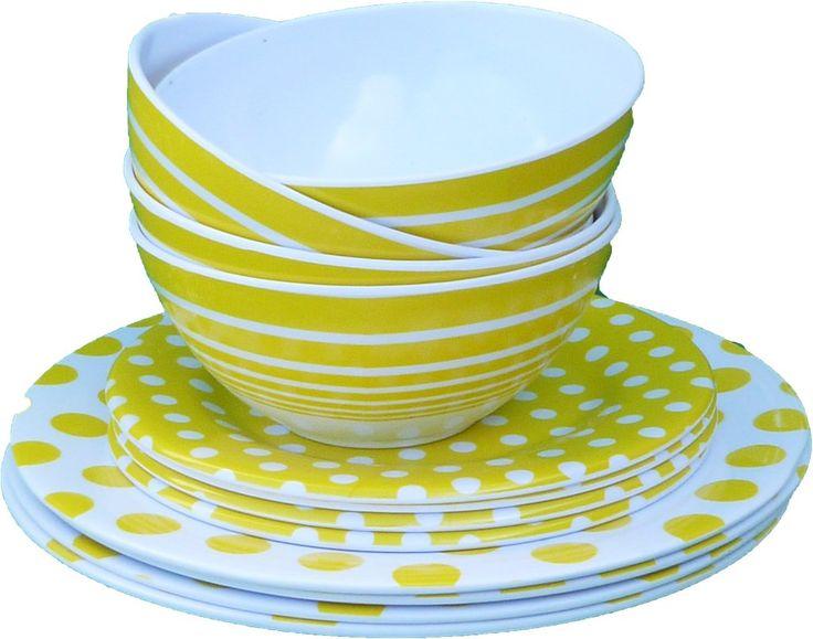 Wholesale 3 Piece Melamine Dinnerware Set - Yellow (Case of 72)