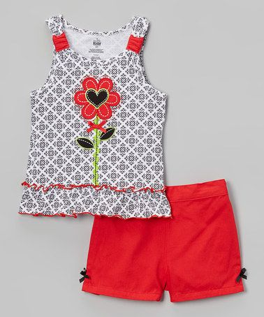 This Black & Red Heart Flower Tank & Shorts - Infant, Toddler & Girls is perfect! #zulilyfinds
