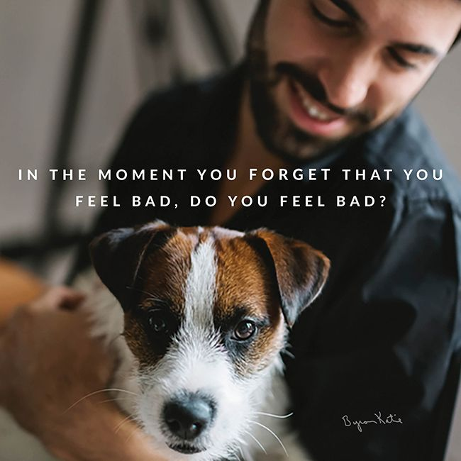 """In the moment you forget that you feel bad, do you feel bad?"" ~ Byron Katie"
