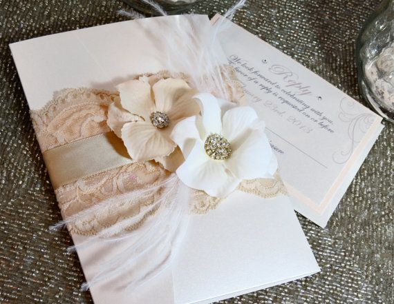 Vintage Glamour Lace Wedding Invitation  by peachykeenevents, $9.25