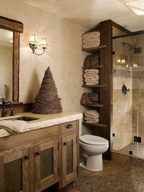 30 idee fantastiche per aggiungere un bagno in stile rustico – #Badezim …