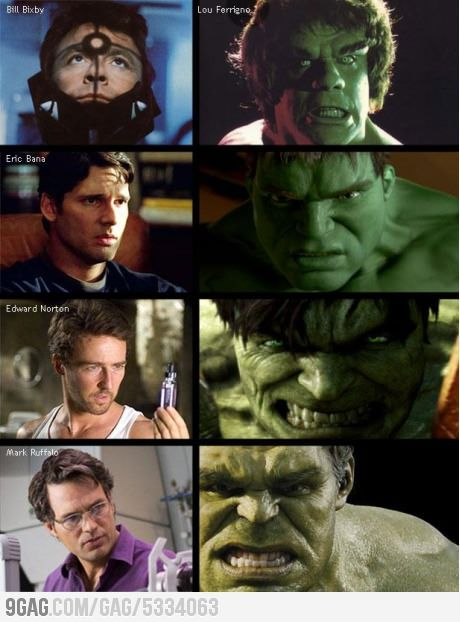 The Different Hulks - as much as I love Edward Norton and Eric Bana, Mark Ruffalo is the best Hulk yet.