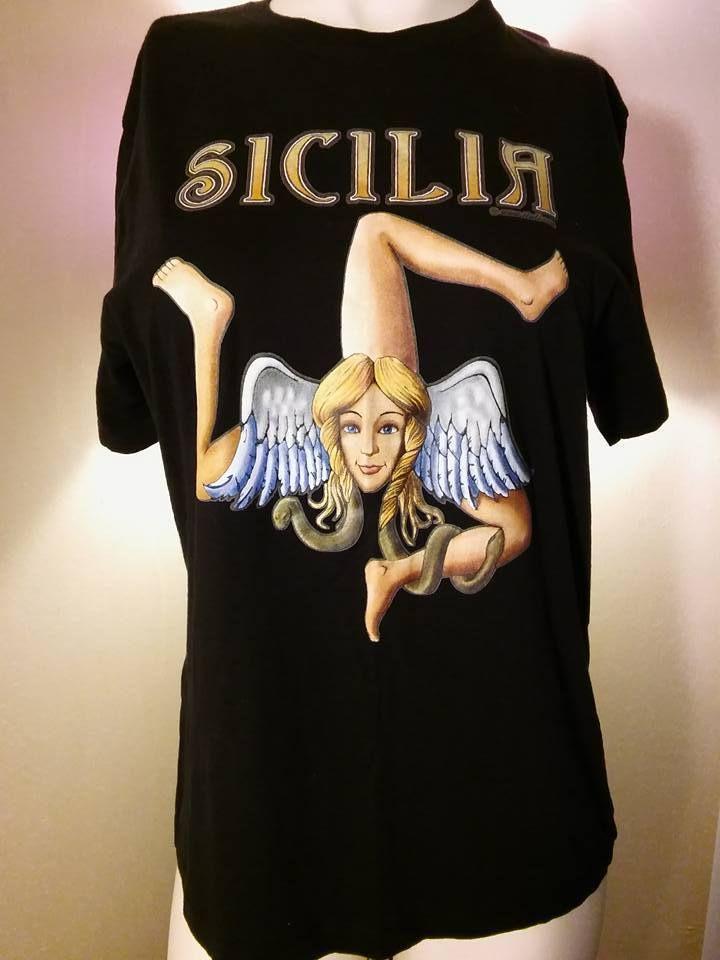 SLAZENGER -  SICILIA Triskelion Graphic T Shirt Black Size XL Unisex #Slazenger #GraphicTee #Sicilia
