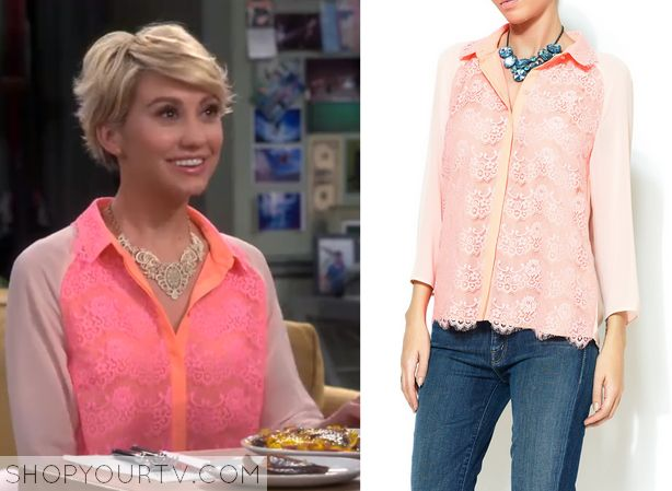 Baby Daddy: Season 4 Episode 5 Riley's Pink Lace Front Blouse