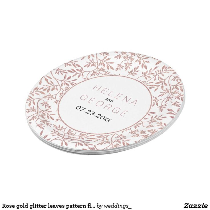 Rose gold glitter leaves pattern floral wedding paper plate