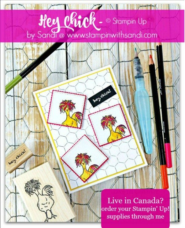 Doing the Funky Chicken by Sandi at stampinwithsandi.com  2017 Sale-a-bration Stamp Set - Hey Chick
