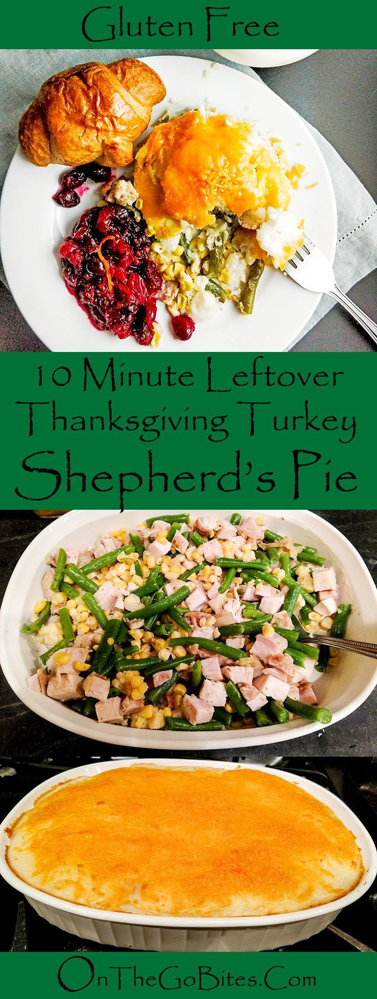 Take some time off and make 10 minute leftover Thanksgiving turkey shepherd's pie.  Gluten free if using the 90 minute Thanksgiving meal. OnTheGoBites.com