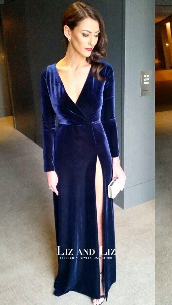Anthea Pellow Blue Long Sleeve Velvet Dress Brownlow Medal 2017 Celebrity Pinterest Dresses And Sleeves