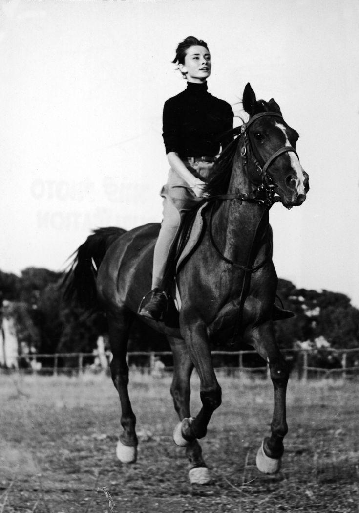 Audrey Hepburn horseback riding
