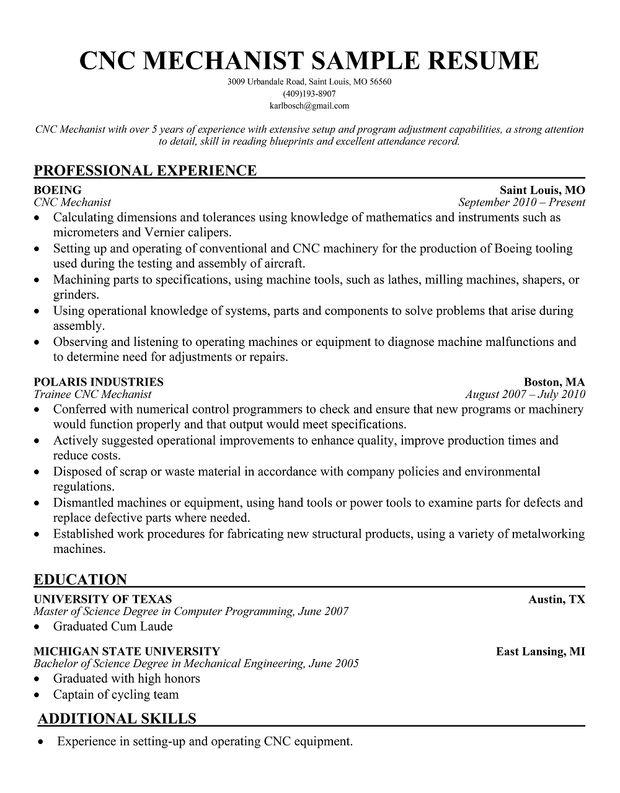 cnc mill operator resume sample