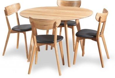Yumi köksbord, EM möbler, massiv oljad ek, 115 cm diameter. Ami stol, oljad ek och konstläder.