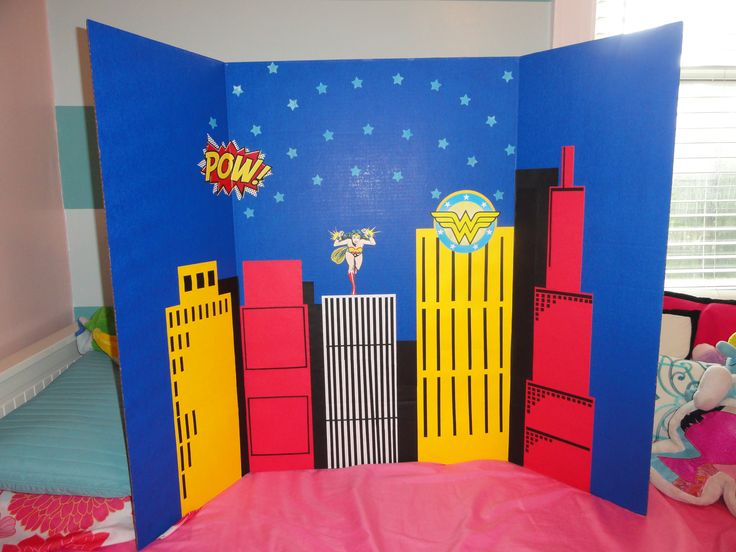 hand crafted background scene setter for wonderwoan  party
