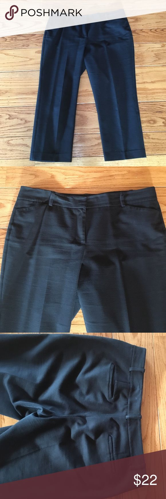 """Classic Ann Taylor Curvy Fit Black Cropped Pants Awesome classic cropped pants, hitting above the ankle (24.5"""" inseam). Flattering fit for us Curvy women. Front zipper with hooks and interior button closure. Belt loops, two front pockets, two flat back pockets. In very good condition, with some slight wearing on center back belt loop (from rubbing against office chair). Machine wash cold (but I have dry cleaned so no fading). Fabric has some texture and feels like a thicker, high quality…"""
