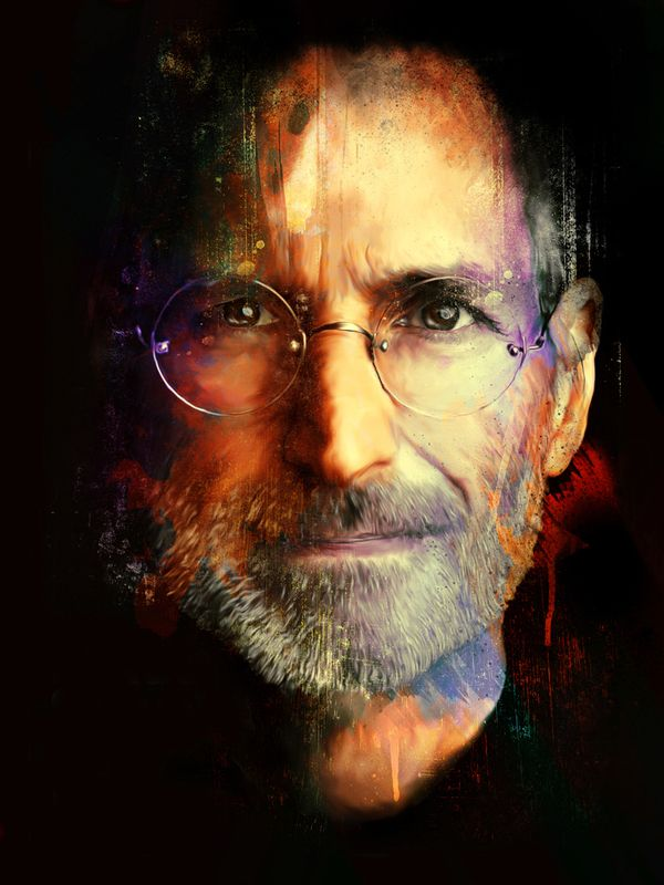 Until yesterday I didn't get the whole  Steve Jobs fad but going into the apple store and literally being trampled by kids in wheelchairs and fat men I realized this man has truly changed us. Also this is an amazing painting