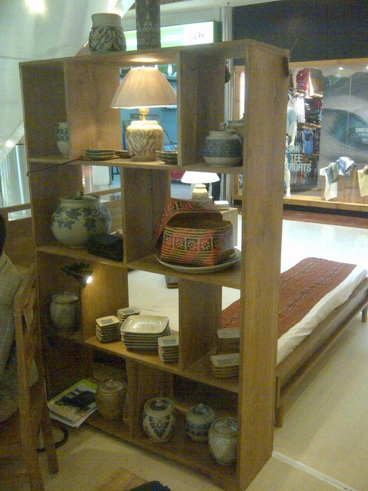 Minimalist teak wood book rack / display
