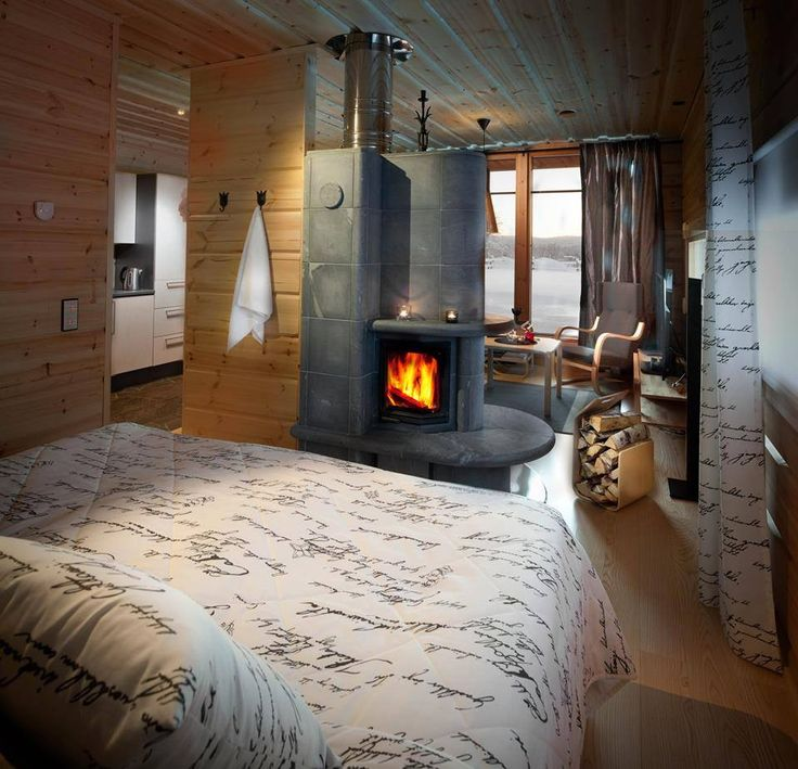 There is a Tulikivi Gemini fireplace in all the Superior rooms at Ylläshumina, Finland.