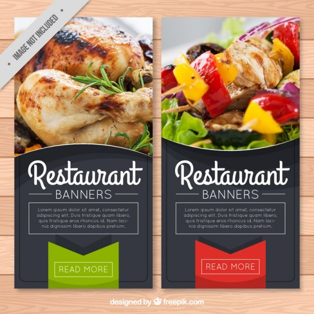 Restaurant banners with tag Premium Vector