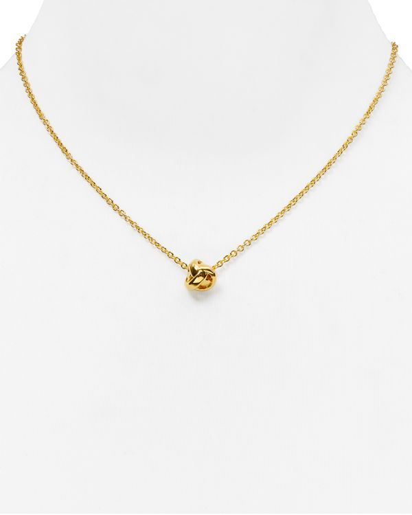 "kate spade new york Dainty Sparklers Knot Pendant Necklace, 17"""
