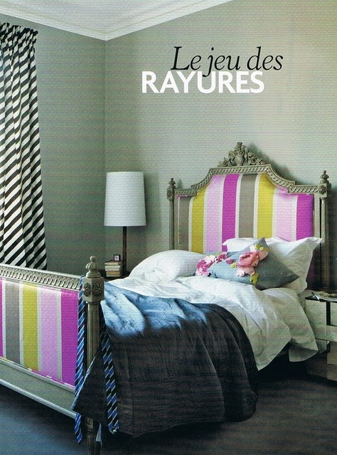 Love this striped bed! and those curtains on the diagonal -yum!Decor, Teen Girls Room, Headboards, Colors, Interiors, Beds Frames, Stripes, Teen Girls Bedrooms, Bedrooms Ideas