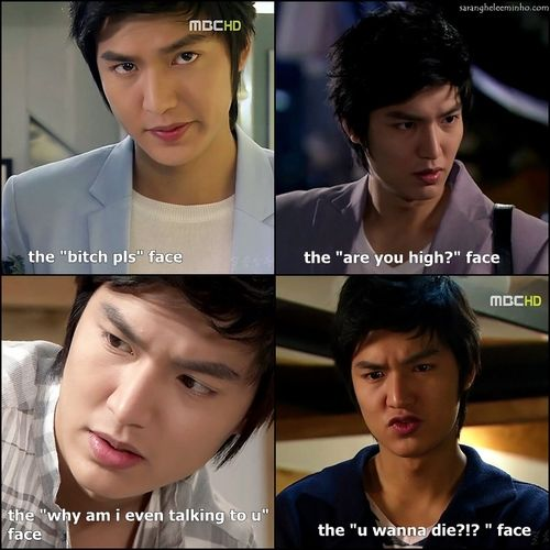 "Lee Min Ho as Jeon Jin Ho ~ Personal Taste. in the 'you wanna die"" face, he's literally saying ""you wanna die"" in korean. <3"