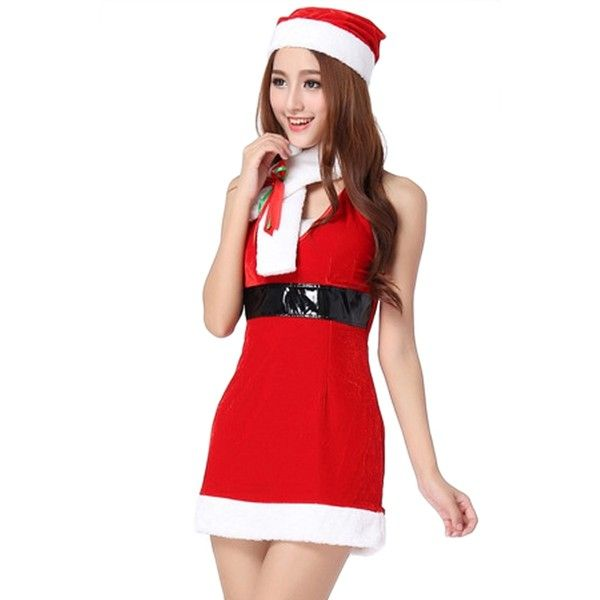 funny Christmas Costumes Strap Pleuche Sleeveless Santa Costume (£11) ❤ liked on Polyvore featuring costumes, red, ladies costumes, funny costumes, santa costume, red costumes and ladies santa costume