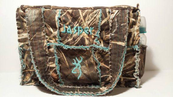 Max 4 camo diaper bag / large camo rag bag teal by daleshandmade