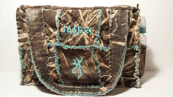 Max 4 camo diaper bag / large camo rag bag teal by daleshandmade