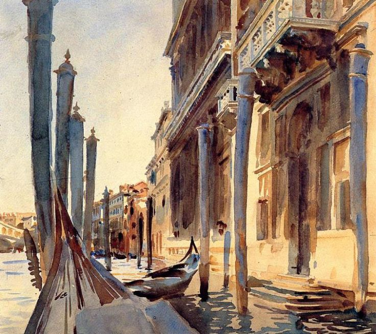 Venice: John Singer Sargent produced 700 works in watercolor 1900 -1914. Painted mostly outdoors, they include gardens, architectural fragments, exotic figure studies, boats, fruit, and foliage. In depictions of Venice, which he visited almost yearly, Sargent's favorite perspective was from a gondola, at water level. Sargent's watercolors were composed directly in color. Rarely were the forms outlined in pencil.