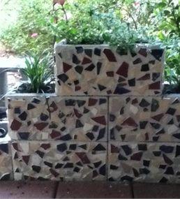 Patio Planter 98cent cinder blocks & diy mosaic