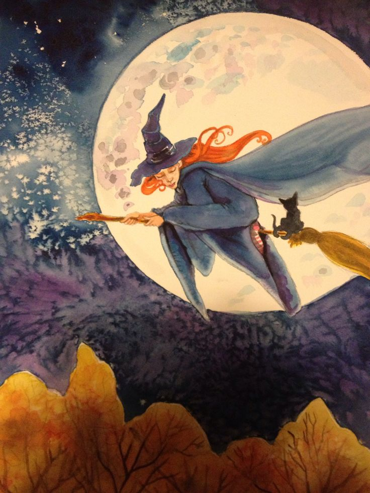 Little Halloween witch - watercolor - (c) 2014
