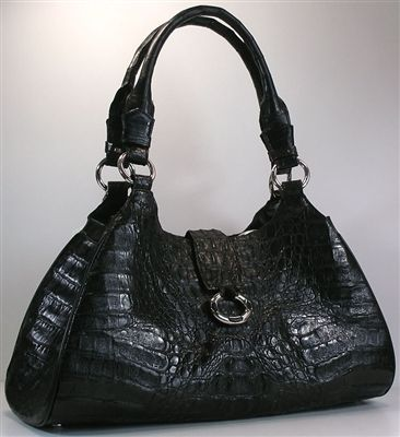 Crocodile Bag Designer Black Genuine Crocodile Handbags. Real genuine black crocodile skin women's handbag. Great quality caiman exotic crocodile skin in shiny black.