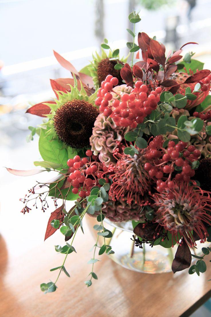 ひまわり/ピンクッション/ブーケ/花束/花どうらく/花屋/http://www.hanadouraku.com/bouquet