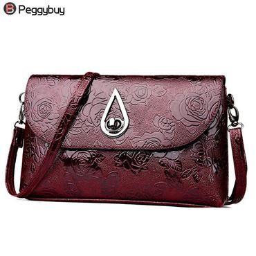 b61b3321e3 Women Flower Pattern Tote PU Leather Messenger Bag Solid Vintage Luxury Shoulder  Bag Fashionable Lady Clutch Crossbody Handbag