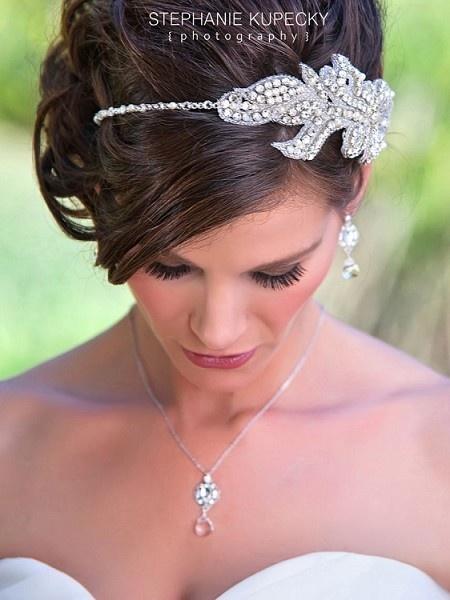 Rhinestone Applique Asymmetrical Headband ~ Gisele Bridal Headband