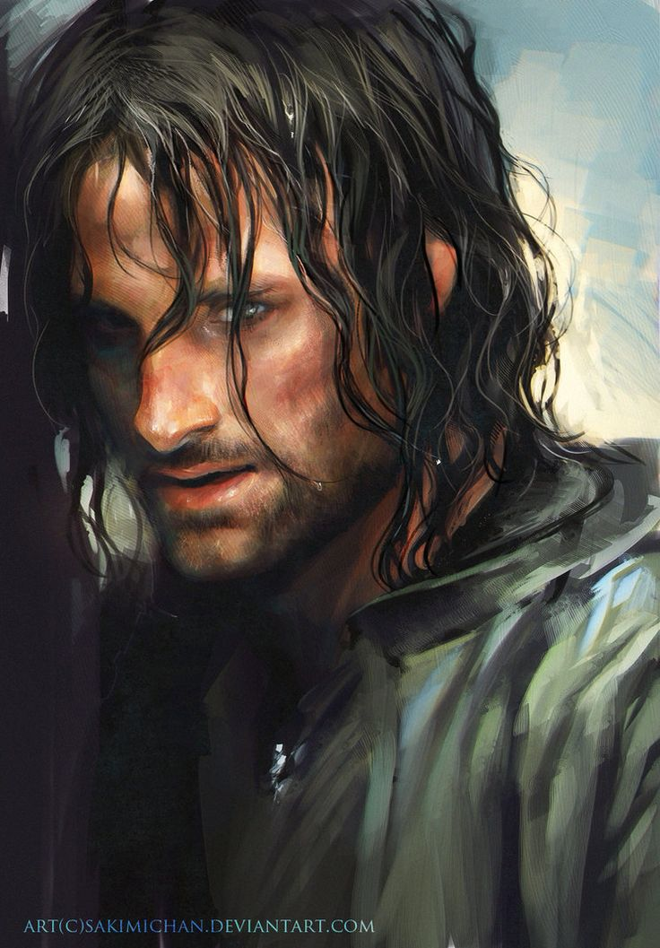 """Aragorn by *sakimichan on deviantART * GRRRRR All of the """"good guys"""" art seems to have people with blonde hair....The people of Lastwall would likely have a duskier golden skin tone due to their Taldan ancestry and the continual influx of Taldan warriors and other types from Taldor *"""