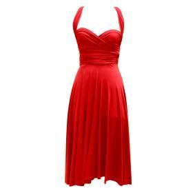 Une robe sur mesure dont la jupe circulaire et le top est en fait deux larges bretelles à croiser et nouer.  Tissu : jersey Taille : sur mesure