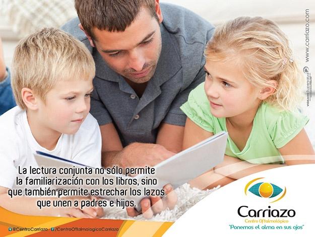 Cuando compartes con tus hijos 20 minutos de lectura al día, ellos aprenden, imaginan y además se divierten. La lectura conjunta no sólo permite la familiarización con los libros, sino que también permite estrechar los lazos que unen a padres e hijos. Diviertanse leyendo! www.carriazo.com