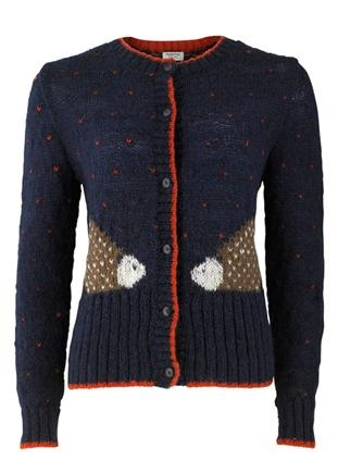 People Tree hand-knitted 'Contrast Hedgehog Cardigan' $136AUD