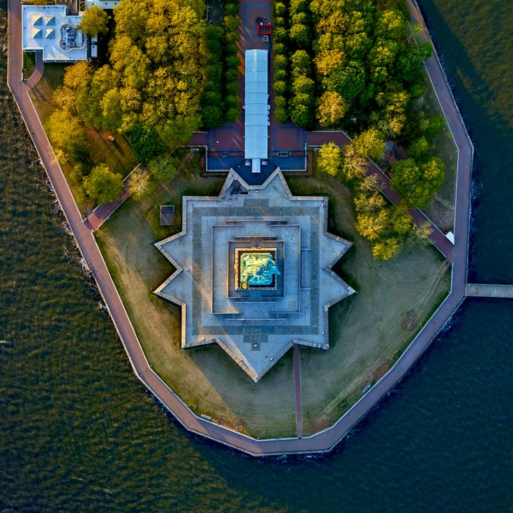 Statue of Liberty, New York City, NY - photo by Jeffrey Milstein, via dailyoverview  (7/04/16)
