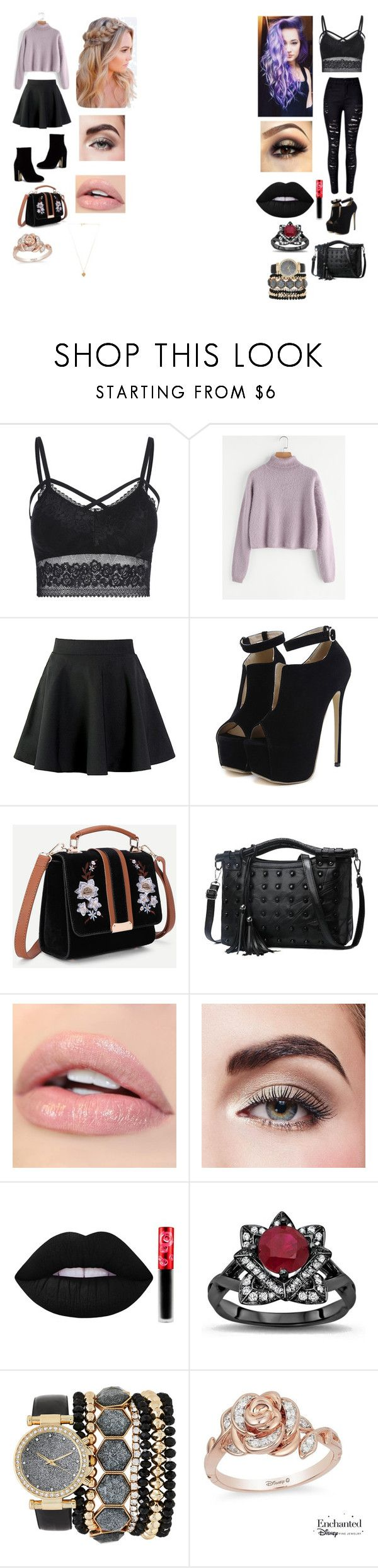 """""""The two types of people! 😇😈"""" by annieswaytoday on Polyvore featuring WithChic, Avon, Lime Crime, Jessica Carlyle, Disney and Vanessa Mooney"""